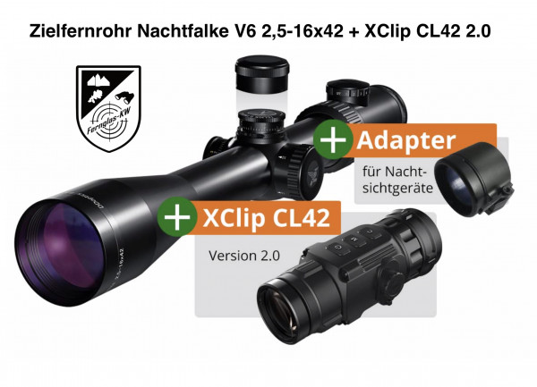 Zielfernrohr Nachtfalke V6 2,5-16x42 + XClip CL42 2.0